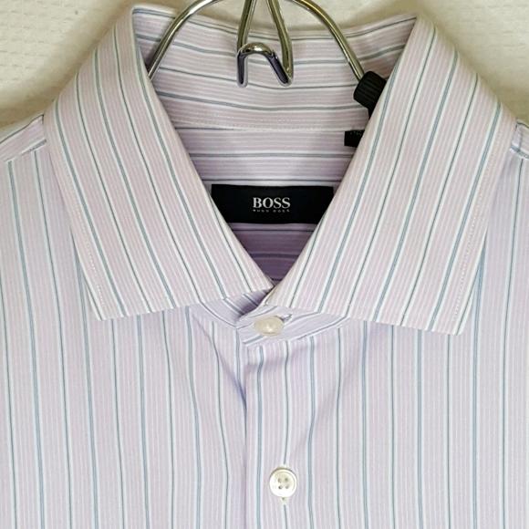 HUGO BOSS Mens 16 34/35 Lilac Blue Pinstripe Shirt